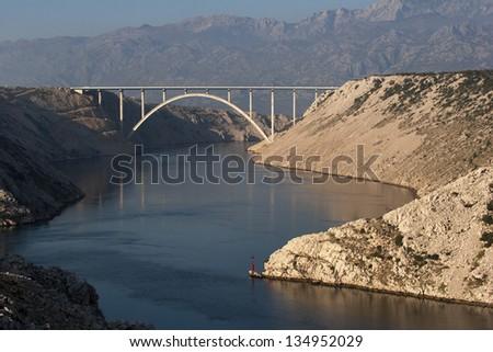 Maslenica bridge on highway A1 near town Zadar, Croatia - stock photo