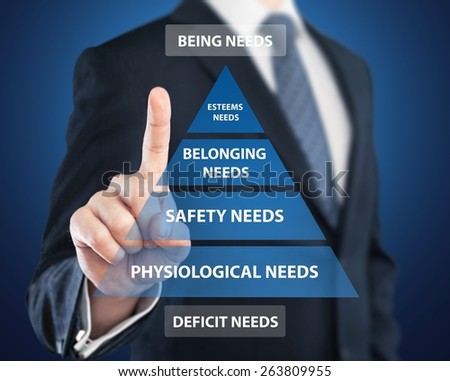 Maslow. Business hand pointing Maslow's pyramid of need concept - stock photo