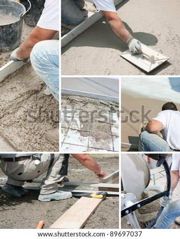 Mason building a screed coat cement - stock photo