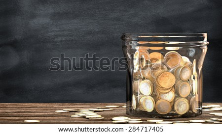 Mason jar full of tossed coins. This illustration is a metaphor for financial saving. 3D render. - stock photo