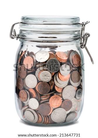 Mason Jar with Coins on White - stock photo