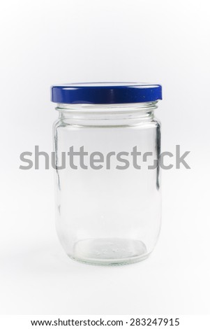 mason jars isolated on white background - stock photo