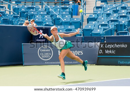Mason, Ohio - August 13, 2016: Donna Vekic  in a qualifying match at the Western and Southern Open in Mason, Ohio, on August 13, 2016.