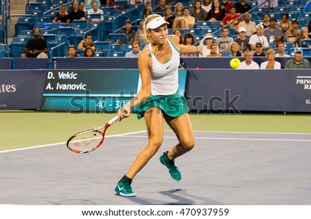 Mason, Ohio - August 15, 2016: Donna Vekic in match against Ana Ivonavic at the Western and Southern Open in Mason, Ohio, on August 15, 2016.