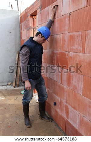 Mason on a construction site