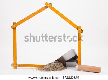 mason tools isolated on white - stock photo