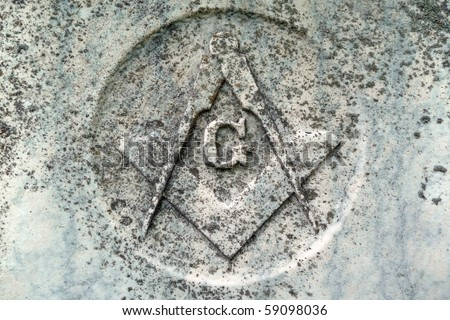 Masonic symbol detail on nineteenth century gravestone - stock photo