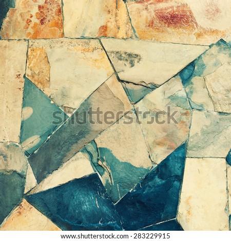 Masonry Wall of Stones Granite with irregular pattern, wall texture. Toned - stock photo