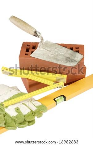 Masons supplies - isolated on white background - stock photo