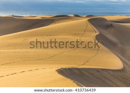Maspalomas Sand Dunes During Sunrise - Maspalomas, Gran Canaria, Canary Islands, Spain - stock photo