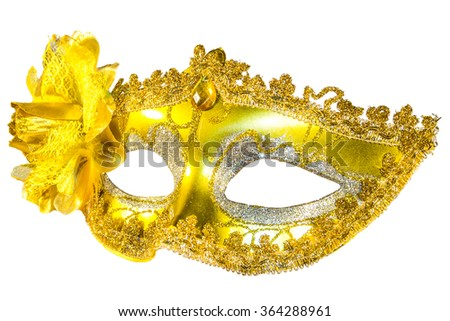Masquerade mask gold  isolated white background side view