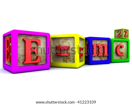 Mass energy equivalence. Einstein famous formula isolated. - stock photo