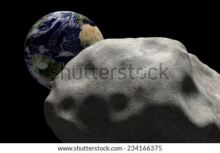 Mass extinction concept of a comet in space headed for impact with planet Earth. Elements of this image furnished by NASA. - stock photo