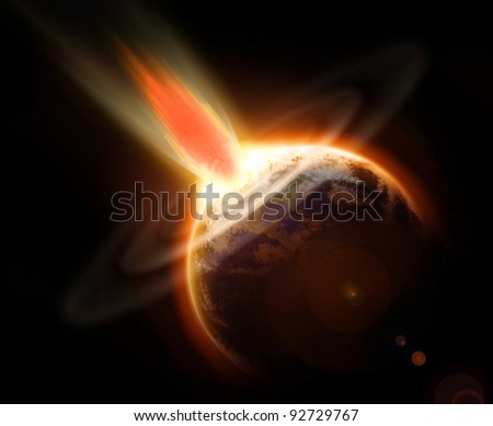 Mass extinction doomsday event from a comet impacting planet Earth. - stock photo