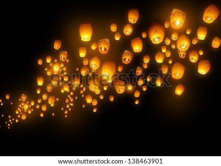 Mass group of flying wishes (chinese lanterns) - stock photo