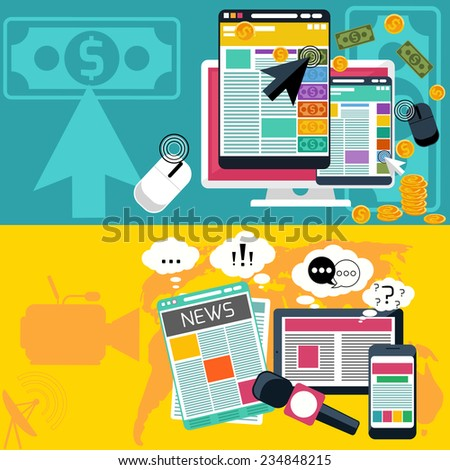 Mass media journalism news concept flat business icons of newspaper paparazzi profession. Pay per click internet advertising model when the ad is clicked. Raster version - stock photo