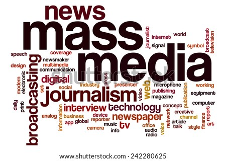 Mass media word cloud concept with journalism news related tags - stock photo