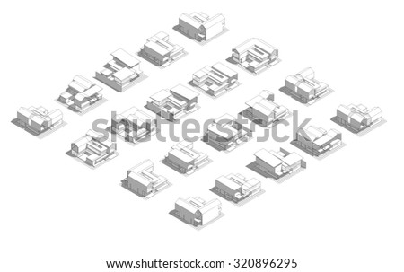 Mass model of  3d Wireframe of building. Process design concept - stock photo
