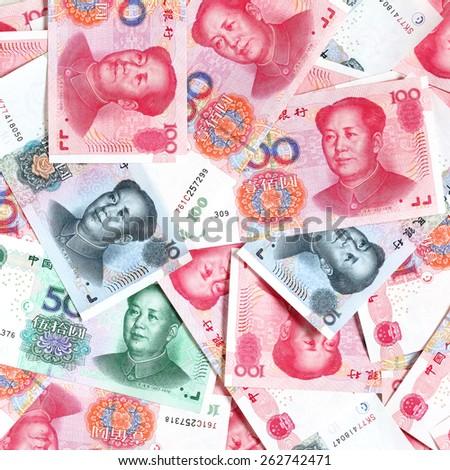 Mass of chinese yuans - stock photo