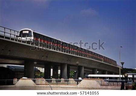 Mass Rapid Transit - Singapore MRT Train - stock photo