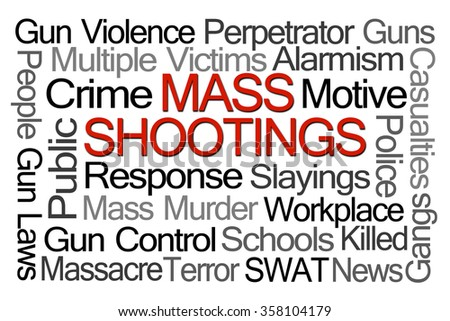 Mass Shootings Word Cloud on White Background - stock photo