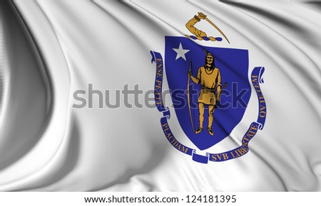 Massachusetts flag - USA state flags collection no_3 - stock photo