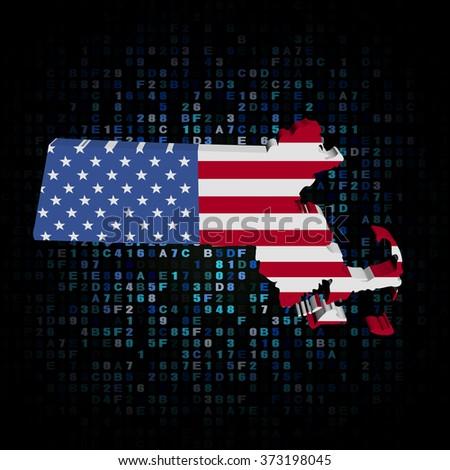 Massachusetts map flag on hex code illustration - stock photo