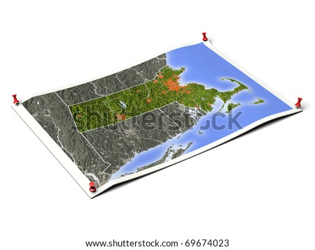 Massachusetts on unfolded map sheet with thumbtacks. Map colored according to vegetation, with borders and major urban areas. Includes clip path for the background.