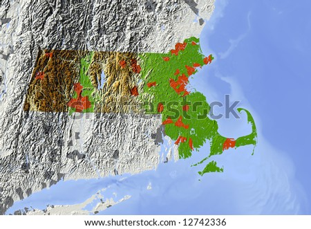 Massachusetts. Shaded relief map.  Shows major urban areas and rivers, surrounding territory greyed out. Colored according to relative terrain height. Clipping path for the state area included. - stock photo