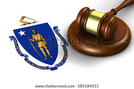 Massachusetts US state law, code, legal system and justice concept with a 3d render of a gavel on the Massachusite flag on background. - stock photo