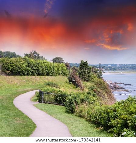 Massacusetts, USA. Beautiful countryside summer colors. - stock photo