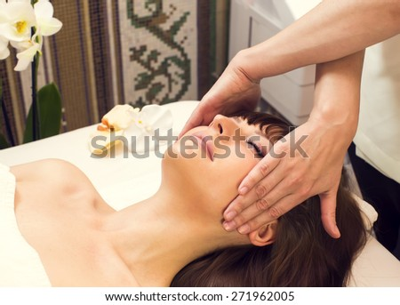 massage and facial peels at the salon cosmetics - stock photo