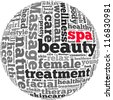 Massage and spa info-text graphics and arrangement concept on white background (word cloud) - stock vector