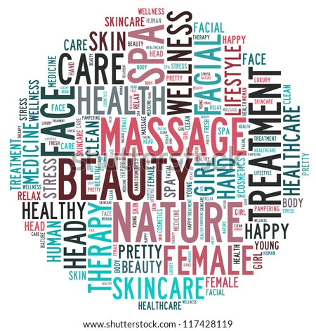 Massage and spa info-text graphics and arrangement concept on white background (word cloud) - stock photo
