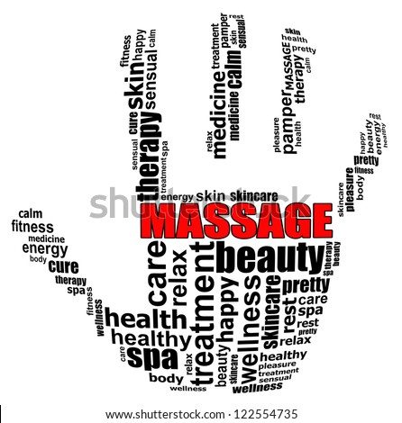 MASSAGE for therapy and spa info text graphics and arrangement concept on white background (word cloud)