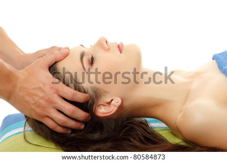 massage head young woman young isolated on white background
