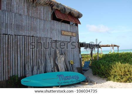 Massage hut in Lac Bay in Bonaire - stock photo