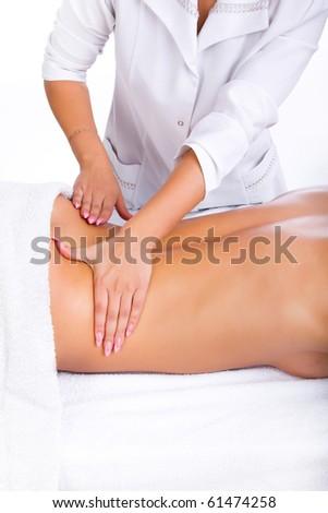 Massage of lumbal back part - stock photo