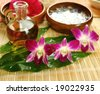 Massage oil and spa accessories - stock photo