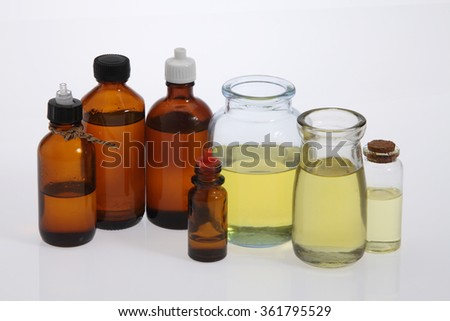 massage oil in different type of bottle