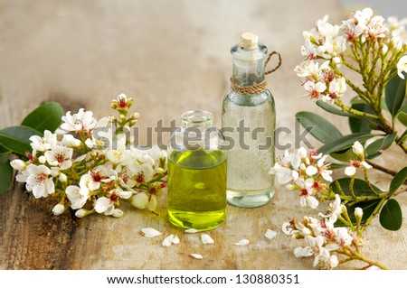 Massage oil with spring flower on old wooden