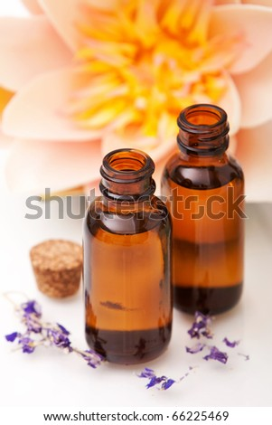 Massage oils and waterlily on white background - stock photo