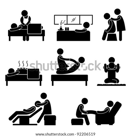 Massage Spa Therapy Wellness Aromatherapy Icon Sign Pictogram - stock photo