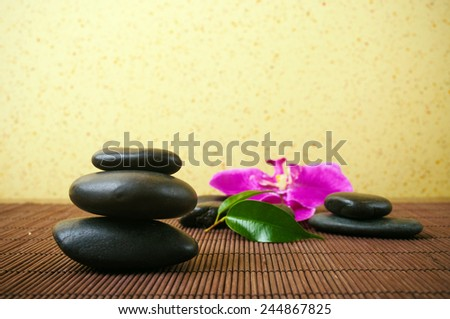 Massage stones and orchid in the background - stock photo