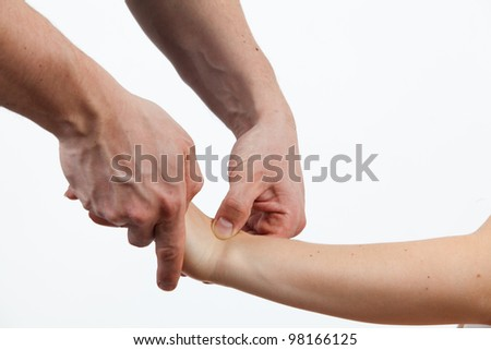 Massage therapist giving a massage. female receiving professional massage.