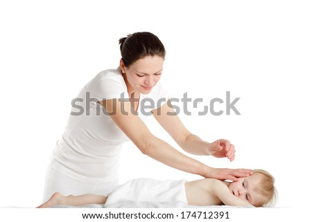 Massage therapist with her little patient.
