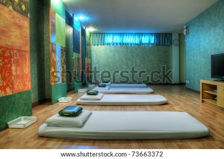 Massage treatment room - stock photo