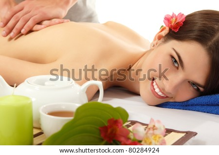 massage woman young beautiful cheerful