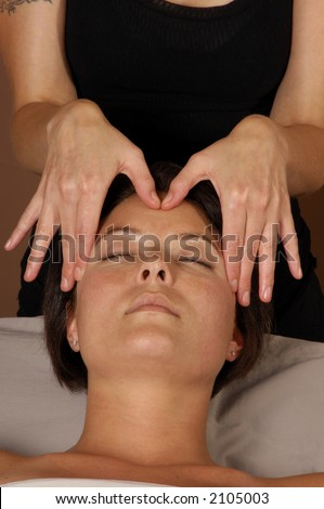 Massaging Head at Day Spa Salon - stock photo