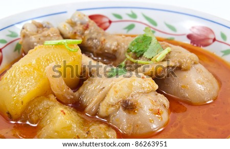 Massaman curry, a southern Thai dish. The dish usually contains coconut milk, roasted peanuts or cashews, potatoes, bay leaves, cardamom pods, cinnamon, star anise, palm sugar. - stock photo